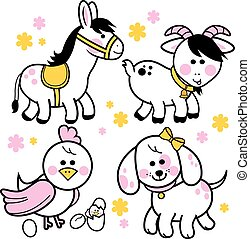 Farm animals - Vector illustration collection of farm...