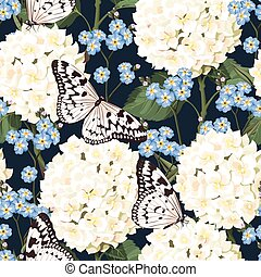 Hydrangea and forget-me-not seamless - White hydrangea and...