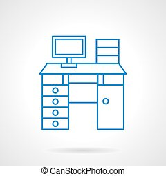 Workplace desk flat line vector icon - Functional computer...