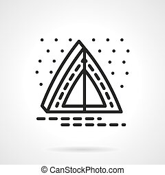 Overnight camping simple line vector icon - Abstract camping...