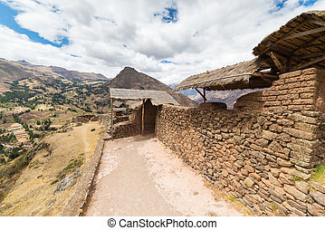 Expansive view of the Sacred Valley, Peru from Pisac Inca...