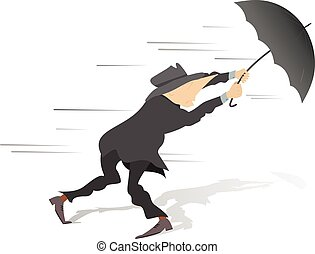 Vector Illustration of Windy day - Man tries to hold an umbrella ...