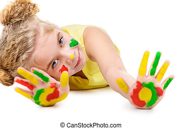 colorful childhood - Cute little girl with painted colorful...