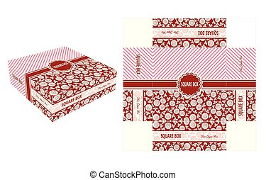 Red Flower Square Box - Cake Box Template, Design, and...