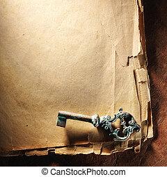 Weinlese, Papier, altes, Schlüssel