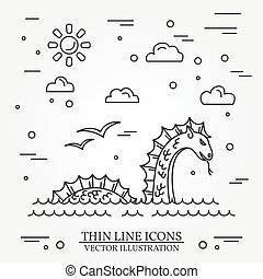 Loch Ness monster logo. Thin line icon for web design and...