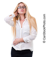 beautiful blond business woman standing over white...
