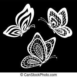 set of beautiful black and white guipure lace butterflies...
