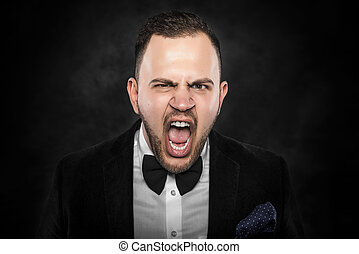 Angry businessman shouting - Angry businessman shouting or...
