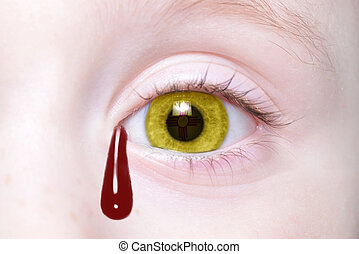 human and 39;s eye with new mexico state flag with bloody...