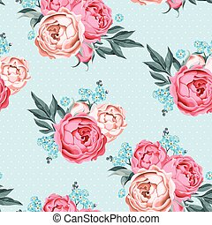 Seamless peony and forget-me-not - Vintage peony,...