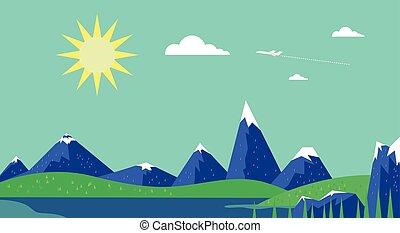 Banner mountain vector image