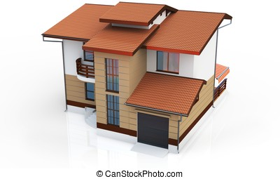 3d contemporary house on a white background 3D illustration