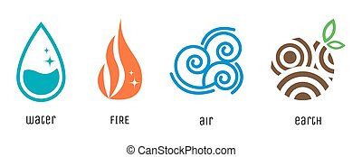 Four elements flat style symbols. Water, fire, air, earth...