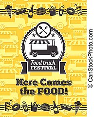 Food truck festival vector poster