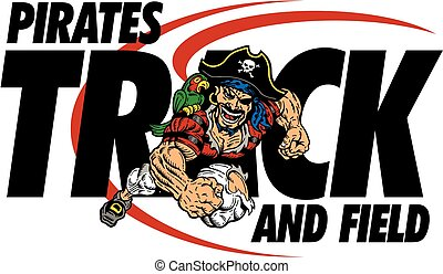 pirates track and field team design with running mascot for...