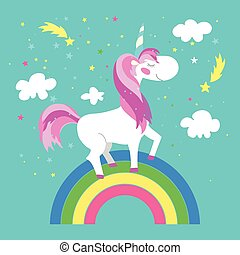 Fairy unicorn with rainbow Vector illustration - Fairy...