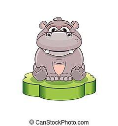 Funny Cartoon Hippo. Vector