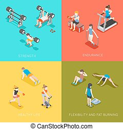 Fitness concept vector backgrounds