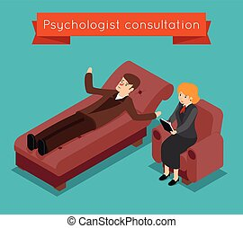 Psychologist consultation. Vector mental problems concept in 3D isometric style