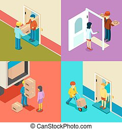 Fast delivery flat isometric vector concept