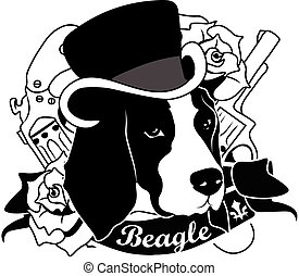 Beagle Portrait. Isolated Vector Illustration - Beagle...
