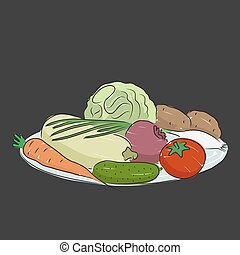A plate with vegetables, vector illustration