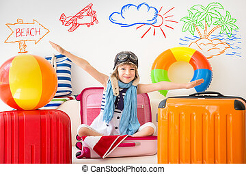 Summer vacation concept - Happy child ready for a summer...