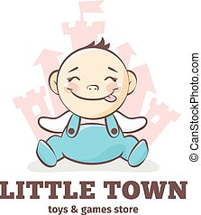 Vector cute baby logo in sketch style. Toys and games store doodle logo in tender colors with little castle on the background