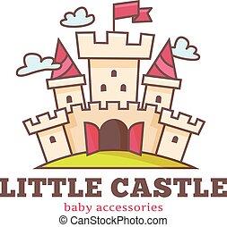 Vector cute little castle logo for baby shop. Kids town...