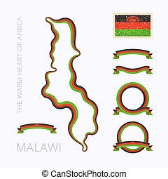 Colors of Malawi - Outline map of Malawi. Border is marked...