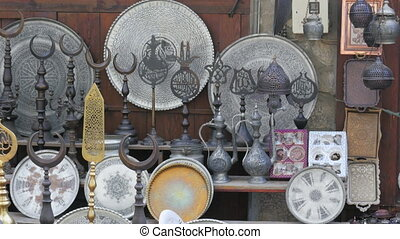 """silver copper pots pans at shop, safranbolu, turkey"""
