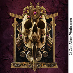 Copper skull composition - Detailed copper skull composition...