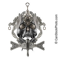 Isolated silver skull composition - Isolated detailed silver...