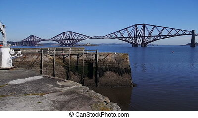 Firth of Forth Bridge in Scotland - Pan of Firth of Forth...