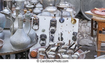quot;silver copper pots pans at shop, safranbolu,...