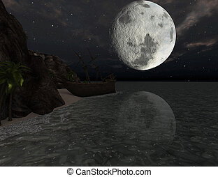 Shipwreck on a tropical island at moonlight