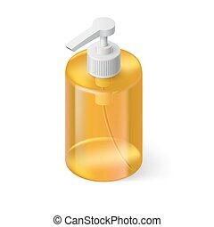 Liquid Soap Isometric - Transparent Bottle in Orange Color...