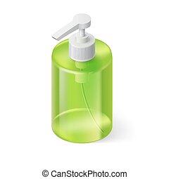 Liquid Soap Isometric - Liquid Soap Transparent Bottle in...