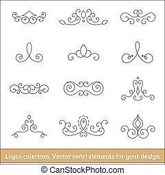 Floral logos collection Swirl elements for design Thin line...