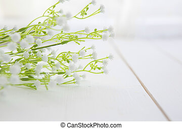 wildflowers on white wooden table - wildflowers on white...