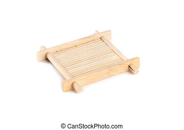 Bamboo teacup serving tray for tea ceremony, isolated on...