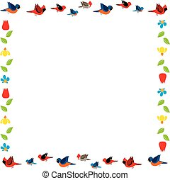 bird and flowers frame