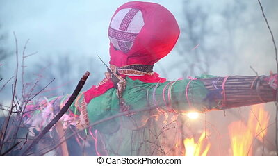 Burn doll on Shrove Tuesday Russian holiday Maslenitsa On...