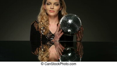 disco ball - pretty woman with disco ball