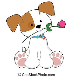 Cute Puppy with Rose