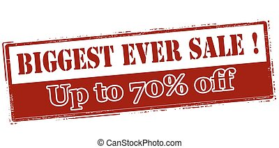Biggest ever sale up to seventy percent off - Rubber stamp...