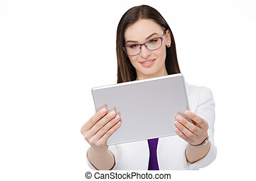 businesswoman with tablet pc