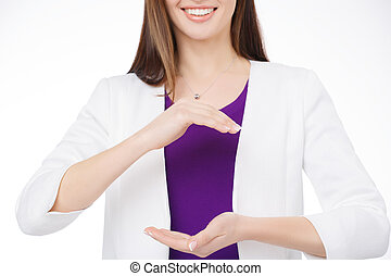 woman holding virtual object in her hands - smiling woman...