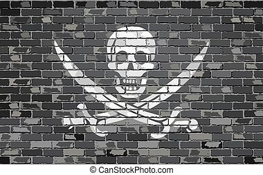Pirate flag on a brick wall - Illustration, Jolly Roger...